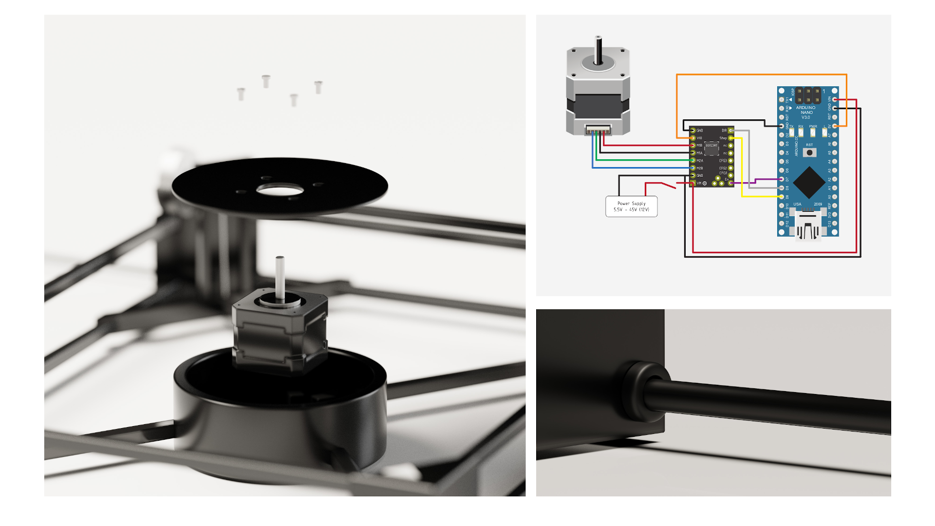 Electronics and mechanics of turntable
